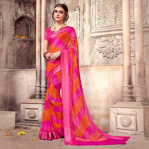 Pretty Pink-Orange Colored Casual Printed Georgette Saree