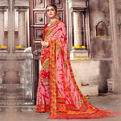 Stunning Pink-Multi Colored Casual Printed Georgette Saree