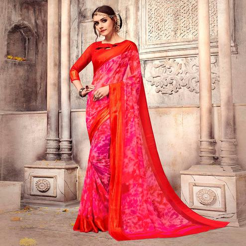 Charming Dark Pink Colored Casual Printed Georgette Saree