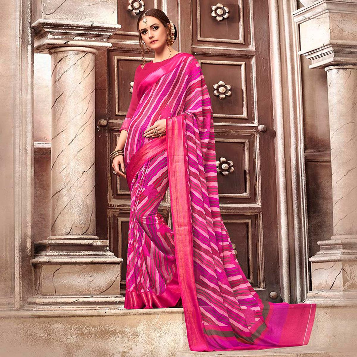 Desiring Dark Pink Colored Casual Printed Georgette Saree