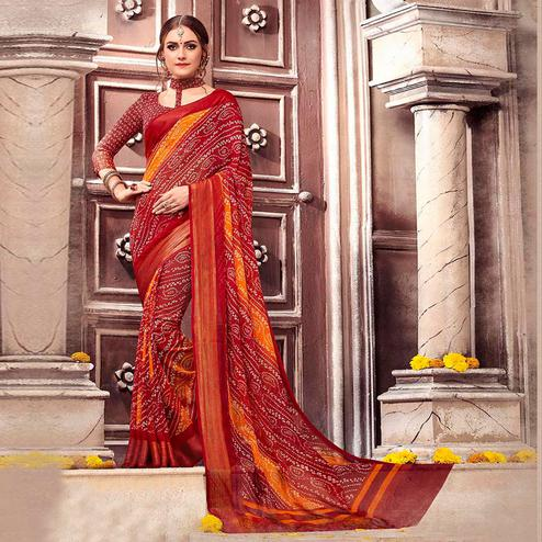 Blooming Maroon Colored Casual Printed Georgette Saree