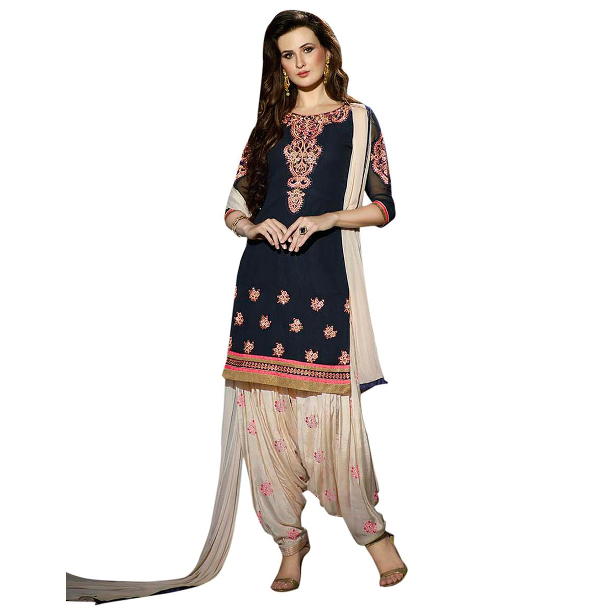 Beautiful Navy Blue and White Embroidered Semi Stitched Salwar Suit
