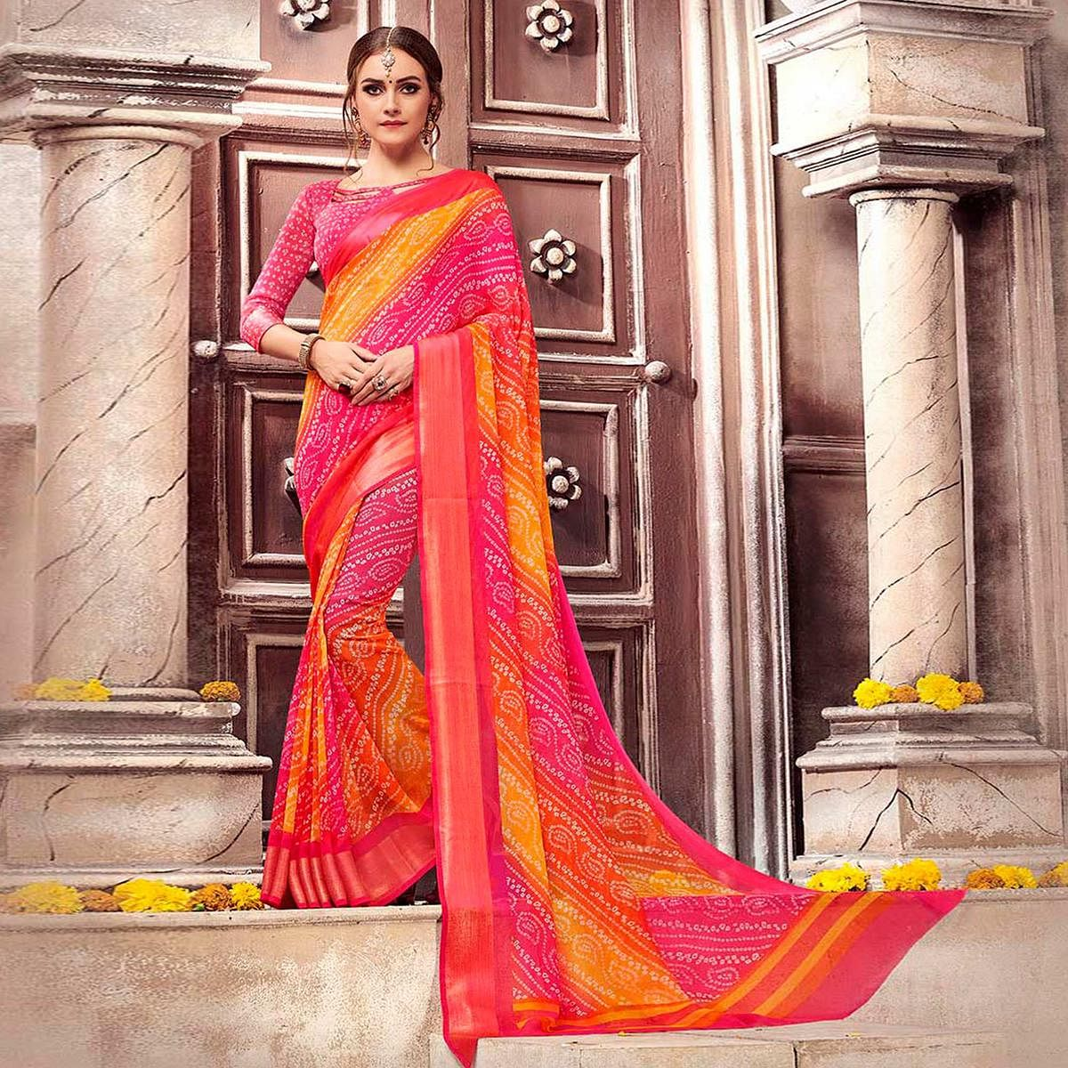 Perfect Pink-Yellow Colored Casual Printed Georgette Saree