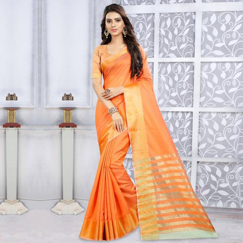 Beautiful Orange Colored Casual Wear Cotton Saree