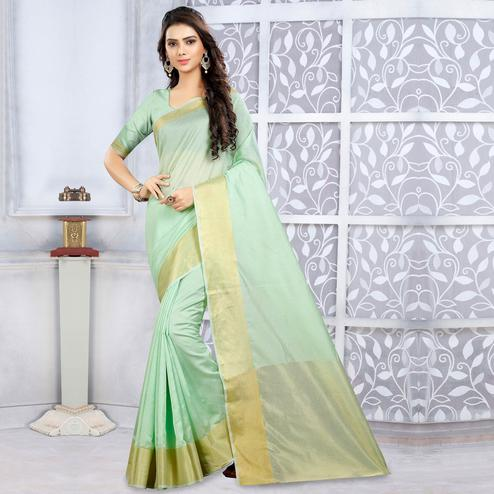 Appealing Pastel Green Colored Casual Wear Cotton Saree