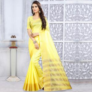 Glowing Yellow Colored Casual Wear Cotton Saree