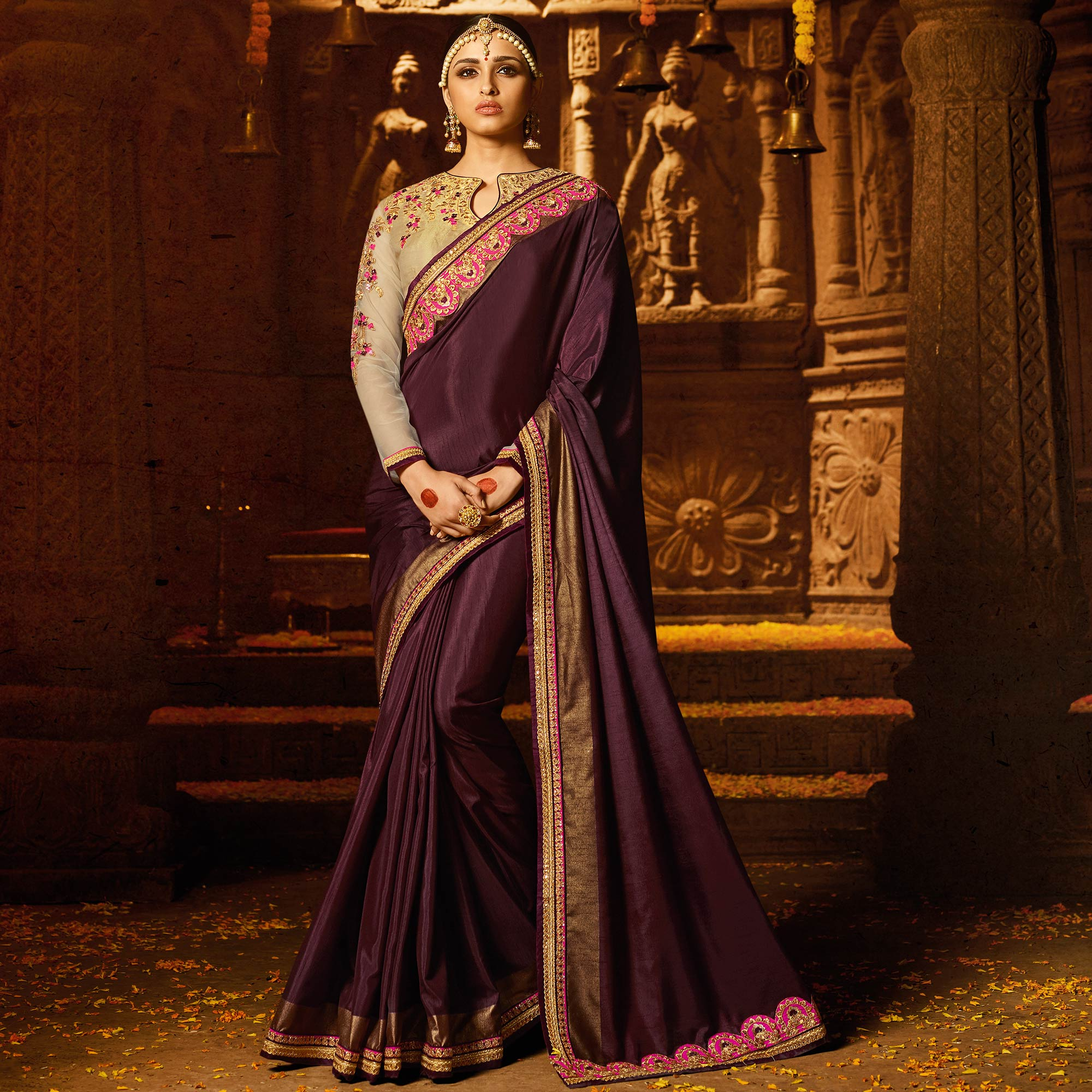 Intricate Dark Purple Colored Party Wear Embroidered Silk Saree
