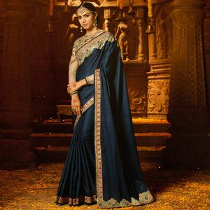 Desirable Blue Colored Party Wear Embroidered Crepe Saree