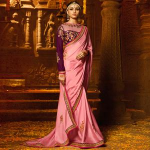 Sophisticated Pink Colored Party Wear Embroidered Crepe Saree