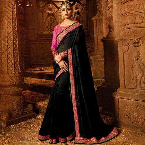 Pleasant Black Colored Party Wear Embroidered Silk Saree