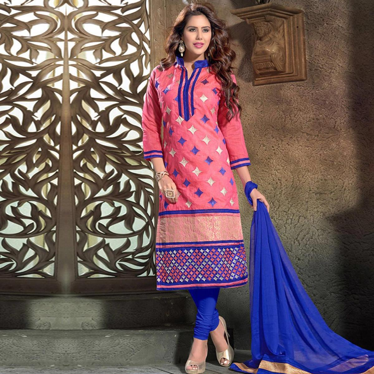 Lovely Pink and Blue Embroidered Semi Stitched Salwar Suit