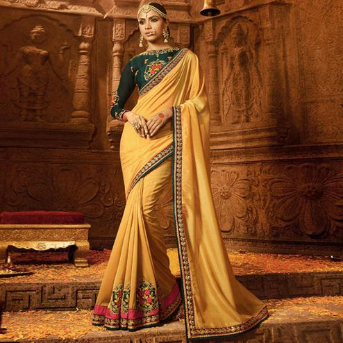 Unique Beige Colored Party Wear Embroidered Silk Saree