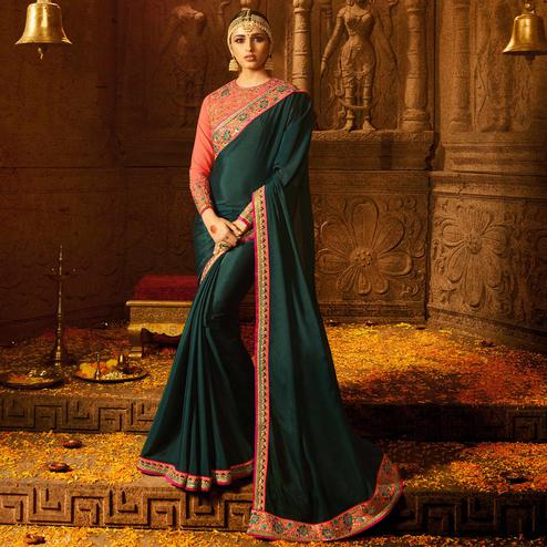 Refreshing Teal Green Colored Party Wear Embroidered Chinon Georgette Saree