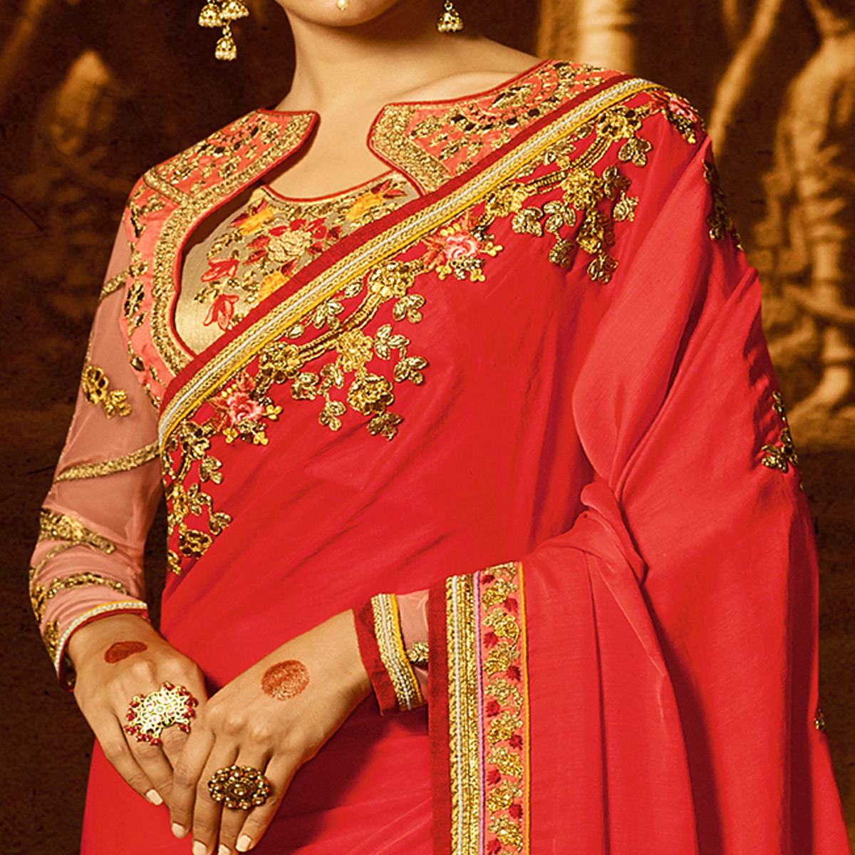 Alluring Red Colored Party Wear Embroidered Crepe Saree