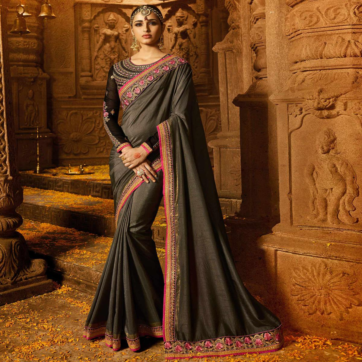 Radiant Grey Colored Party Wear Embroidered Silk Saree