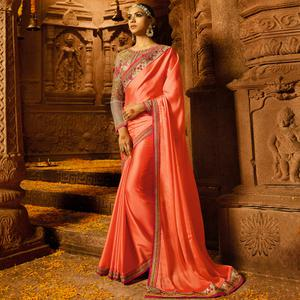 Opulent Peach Colored Party Wear Embroidered Silk Saree