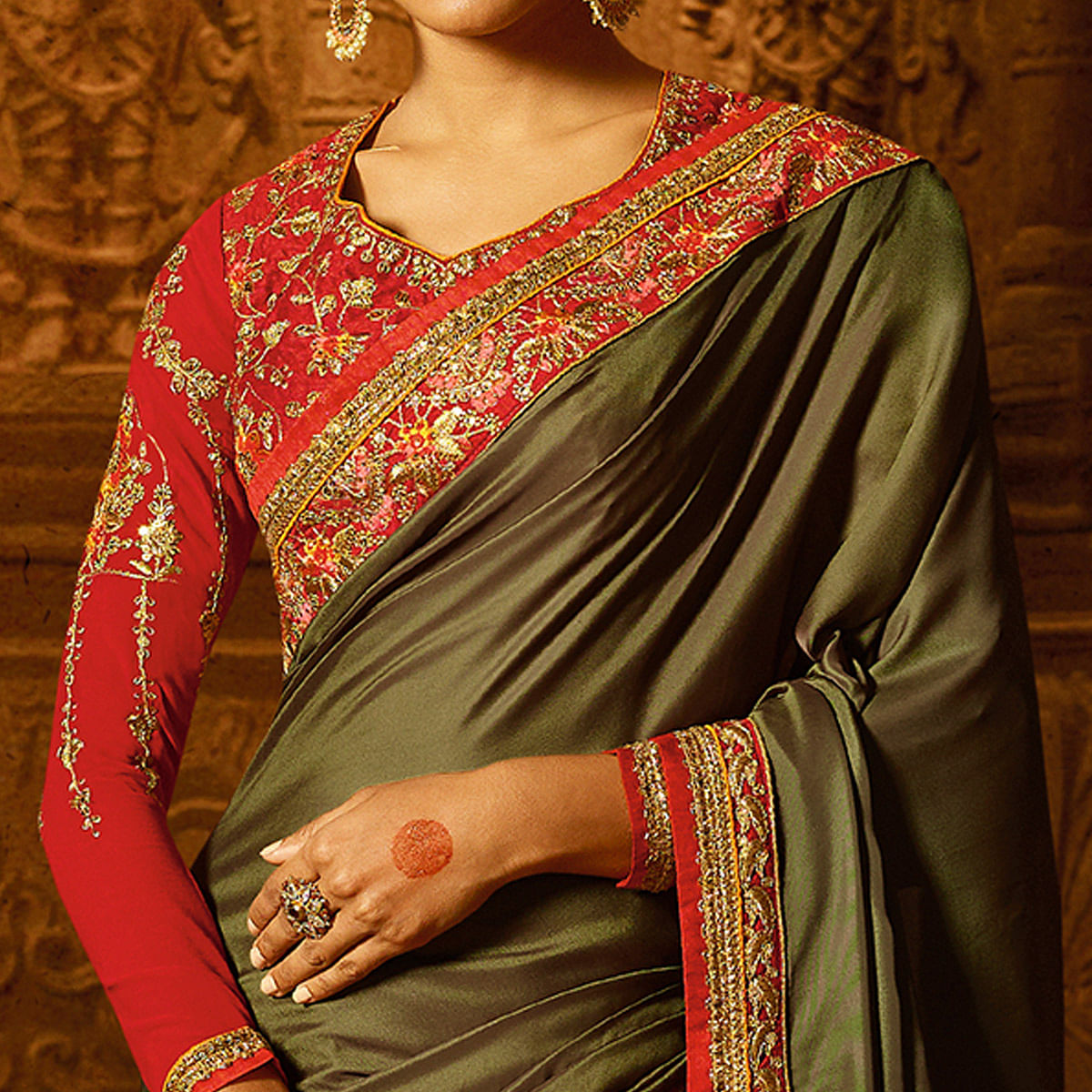 Groovy Olive Green Colored Party Wear Embroidered Art Silk Saree