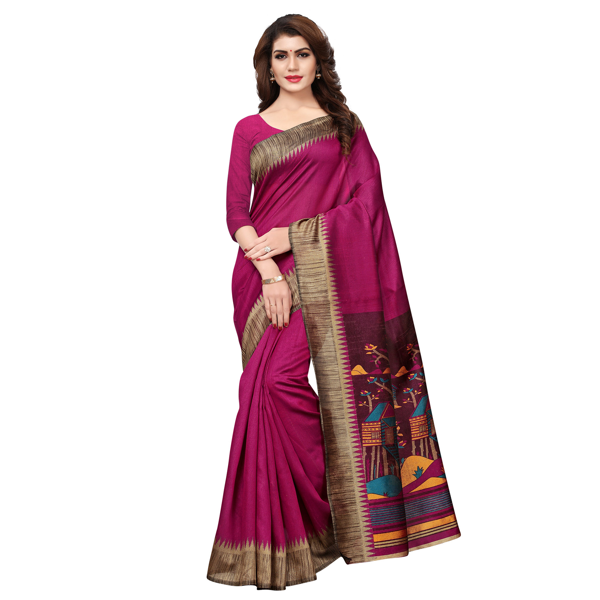 Charming Pink Colored Casual Printed Art Silk Saree