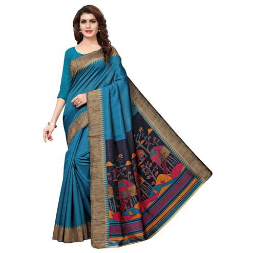 Ravishing Blue Colored Casual Printed Art Silk Saree