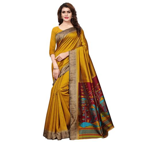 Delightful Golden Yellow Colored Casual Printed Art Silk Saree