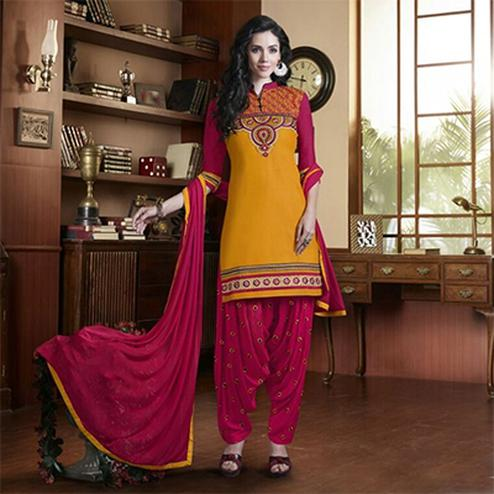 Radiant Yellow and Rani Embroidered Semi Stitched Salwar Suit