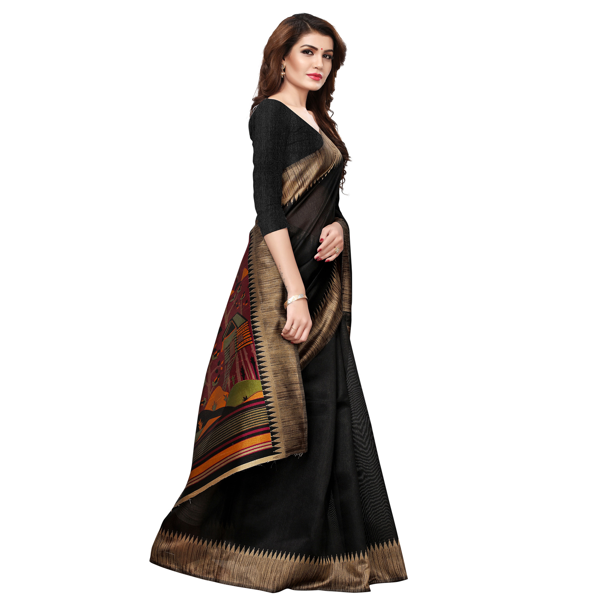 Stunning Black Colored Casual Printed Art Silk Saree