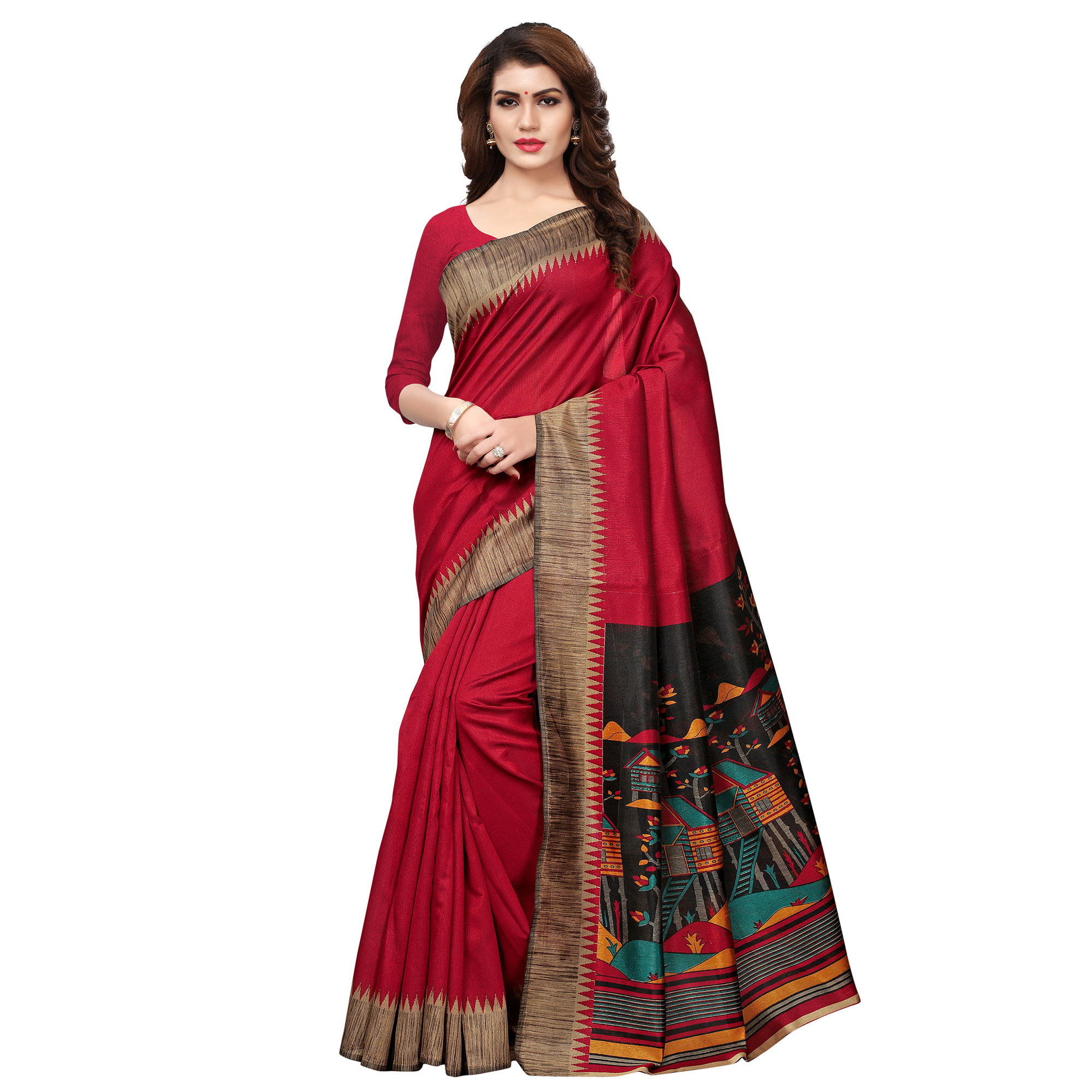 Blooming Red Colored Casual Printed Khadi Silk Saree