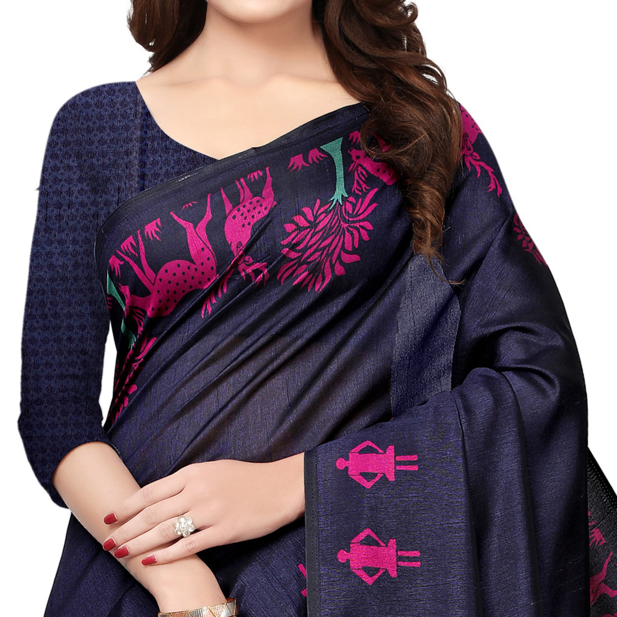 Marvellous Navy Blue Colored Casual Printed Art Silk Saree