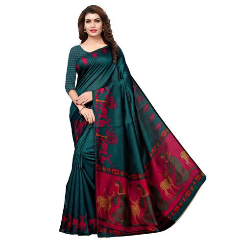 Mesmerising Dark Teal Green Colored Casual Printed Khadi Silk Saree