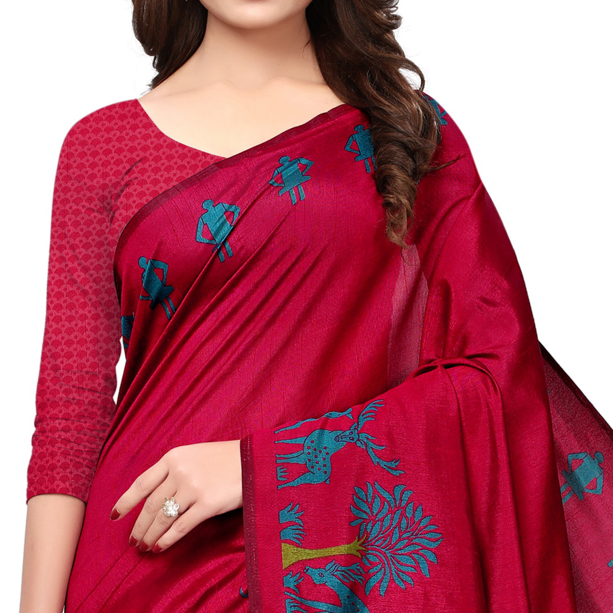 Ravishing Red Colored Casual Printed Art Silk Saree