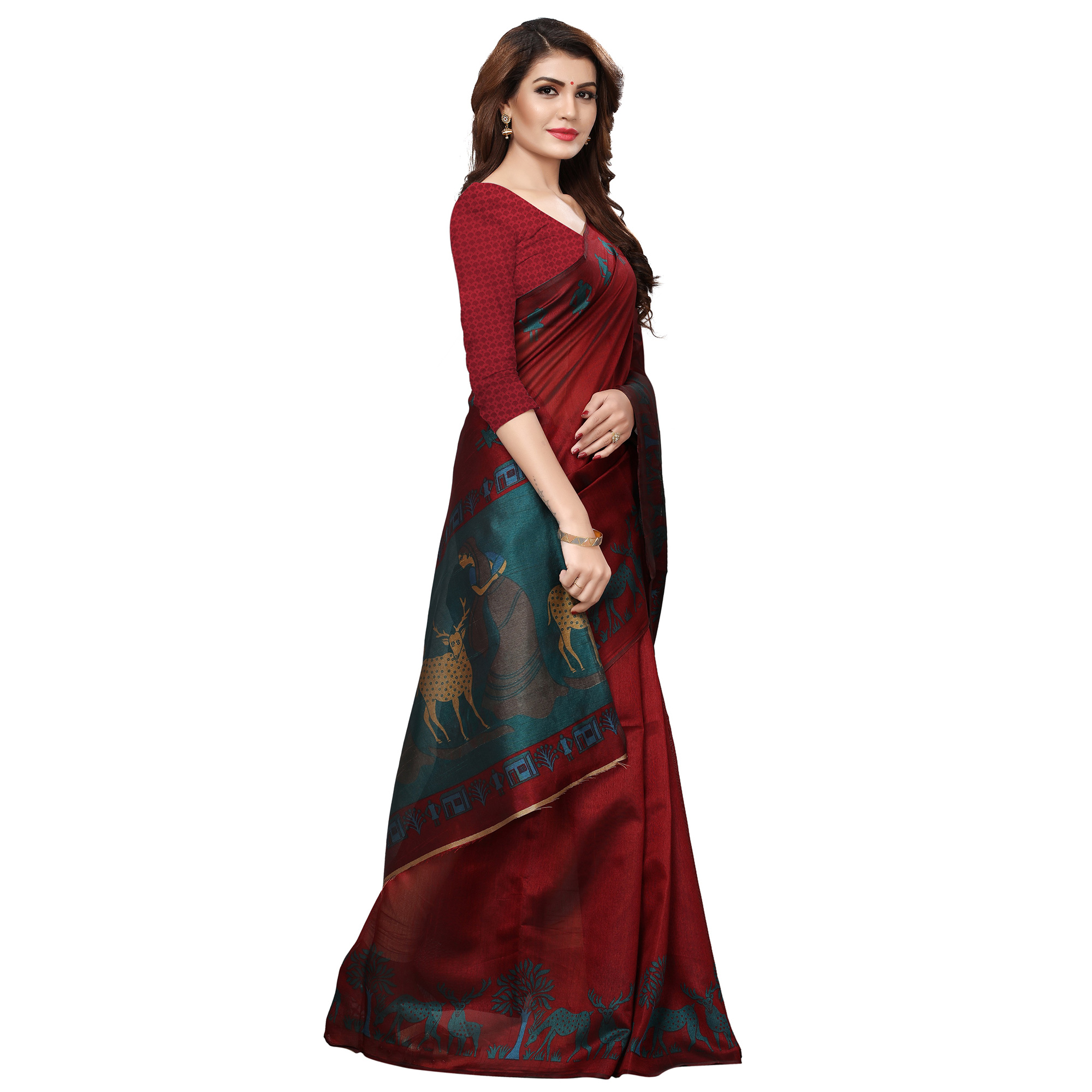 Eye-catching Maroon Colored Casual Printed Art Silk Saree