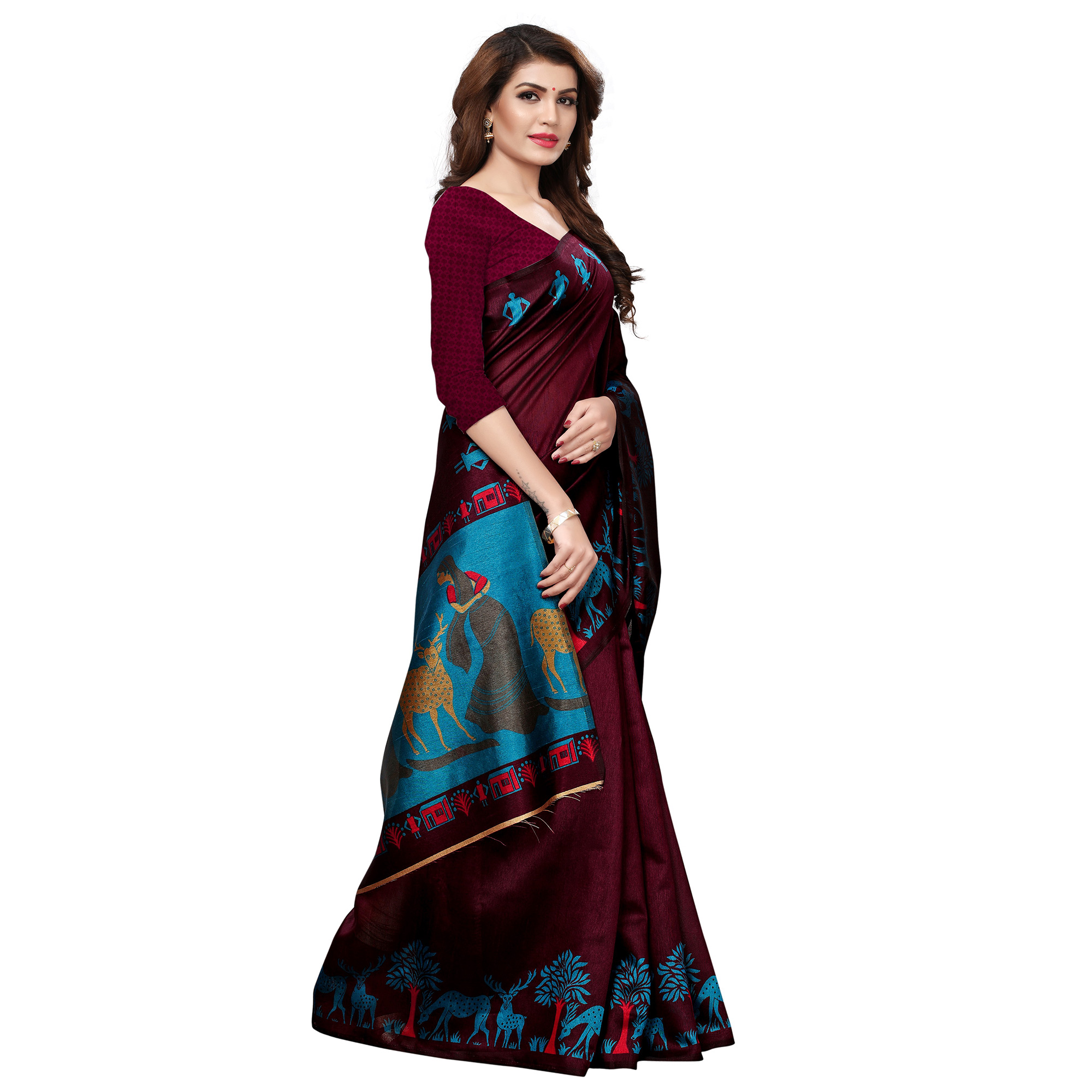Amazing Brown Colored Casual Printed Art Silk Saree
