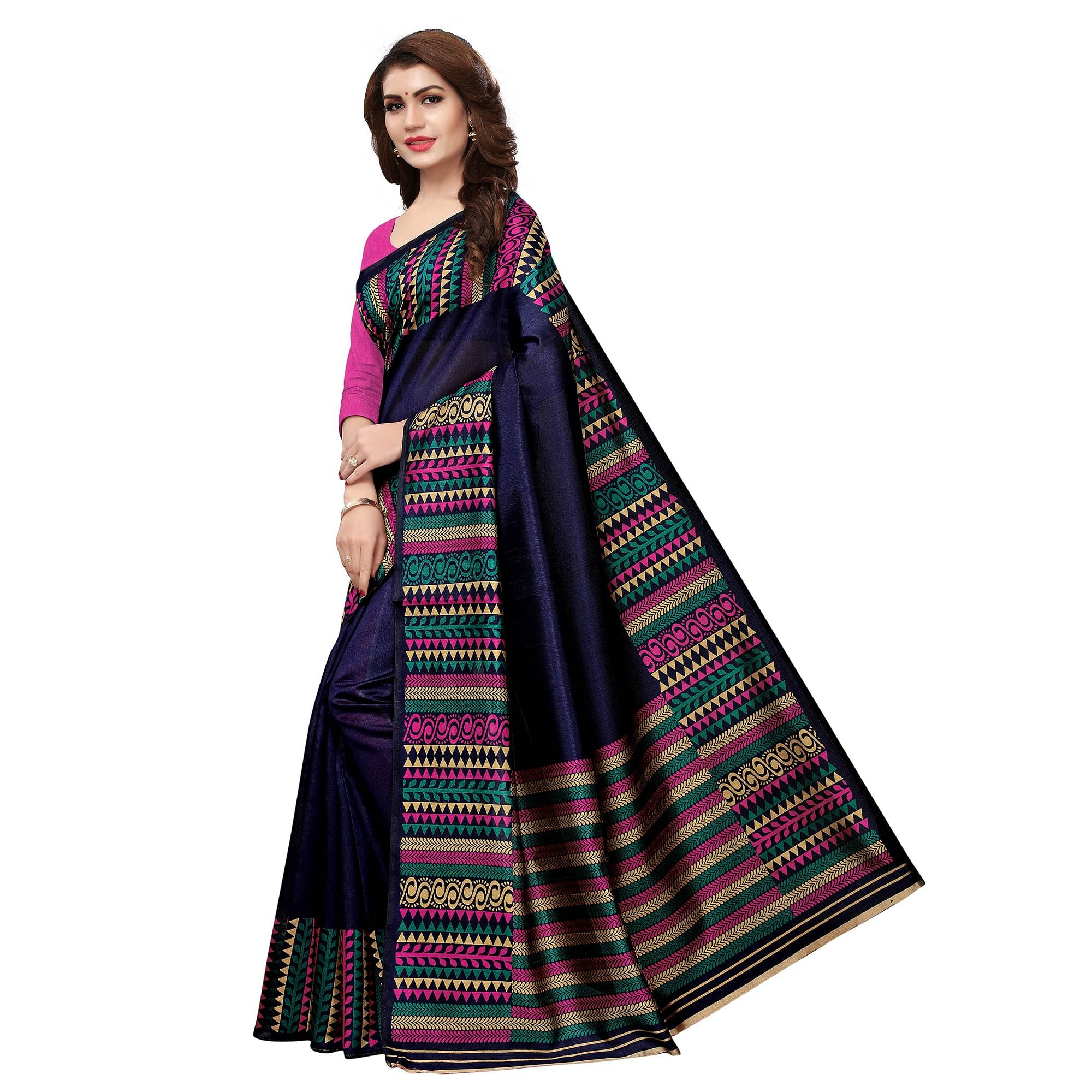 Exotic Navy Blue Colored Casual Printed Art Silk Saree