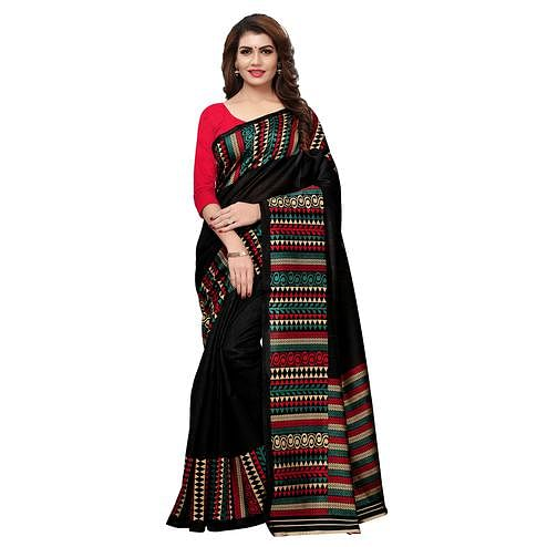 Majesty Black Colored Casual Printed Art Silk Saree