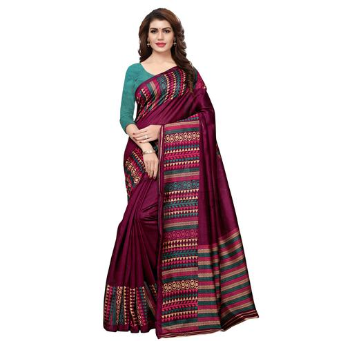 Preferable Dark Magenta Colored Casual Printed Art Silk Saree