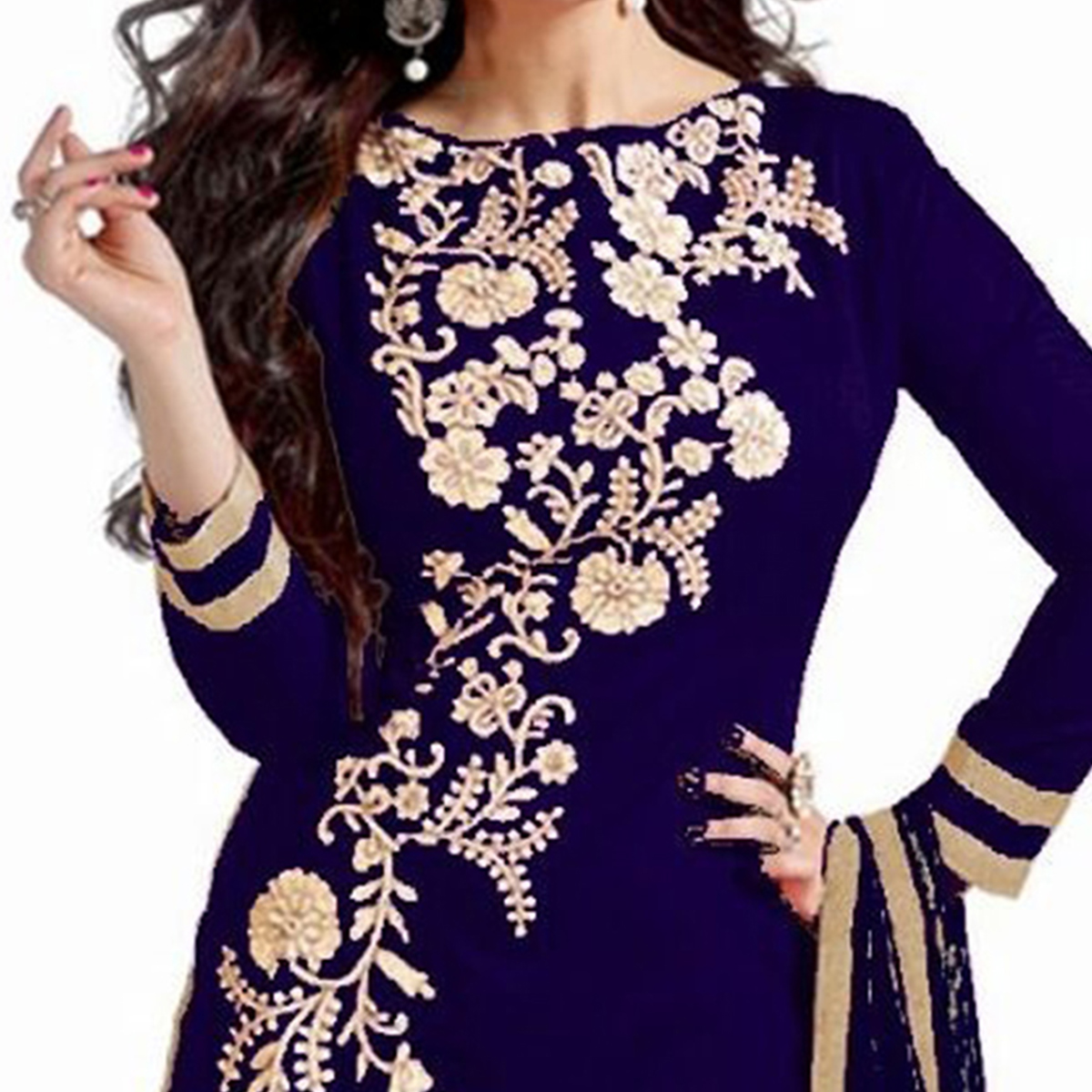 Regal Navy Blue  Embroidered Semi Stitched Salwar Suit