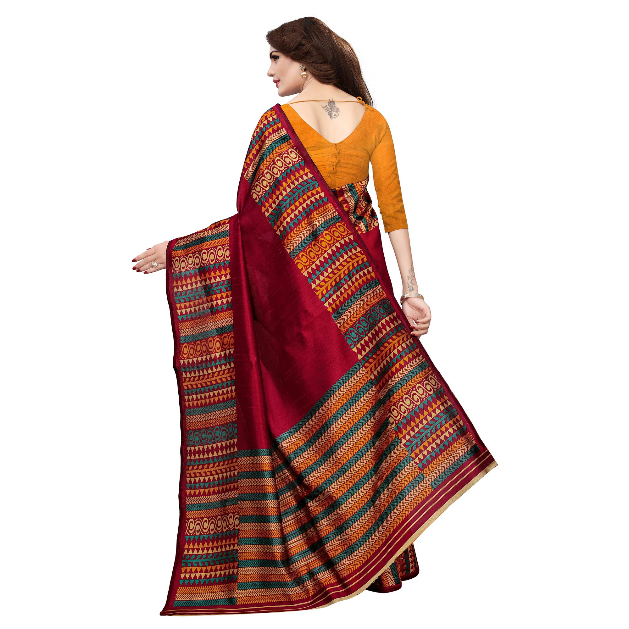 Attractive Red Colored Casual Printed Art Silk Saree