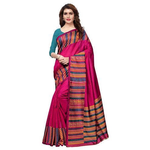Beautiful Deep Pink Colored Casual Printed Art Silk Saree