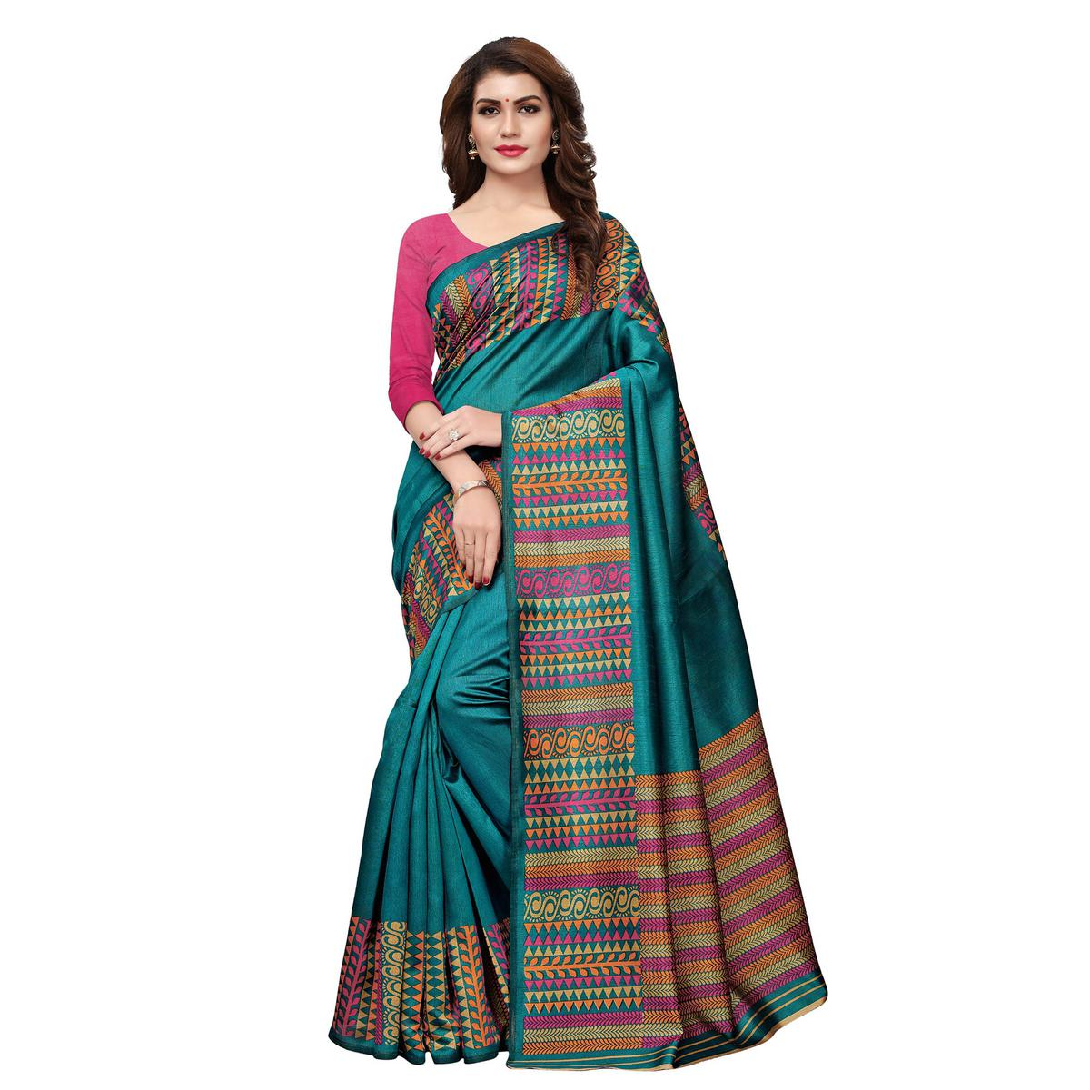 Gorgeous Teal Blue Colored Casual Printed Art Silk Saree