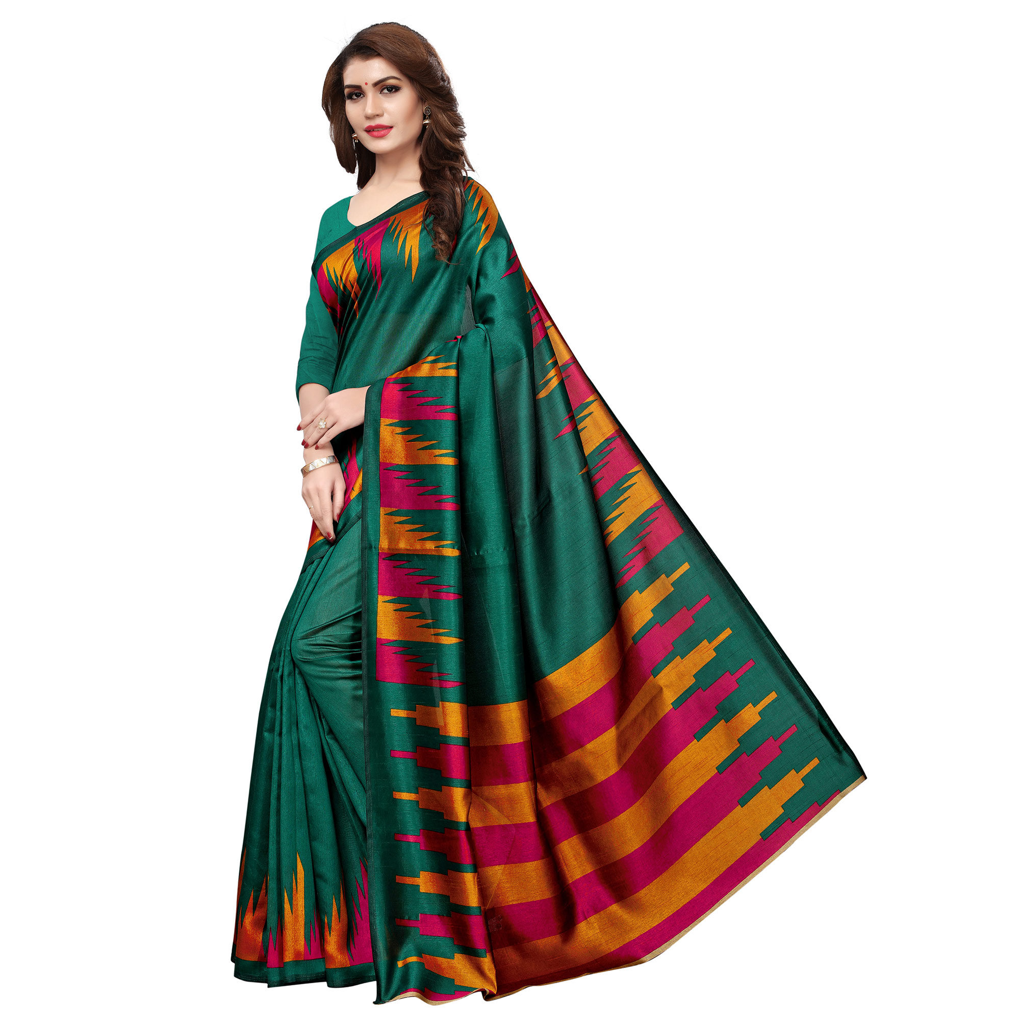 Classy Green Colored Casual Printed Art Silk Saree