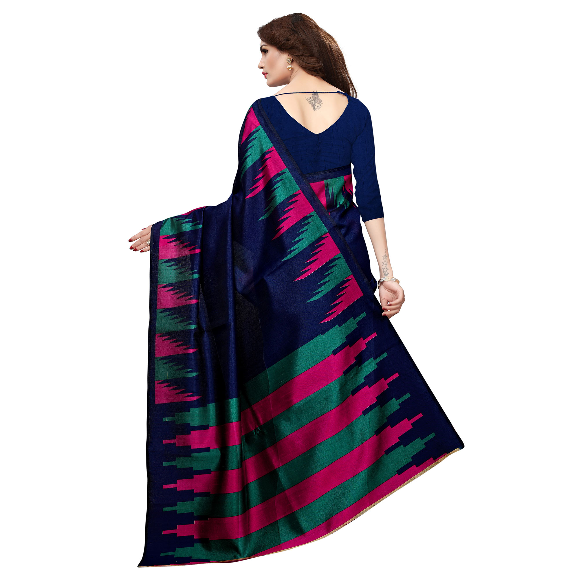 Glorious Navy Blue Colored Casual Printed Khadi Silk Saree