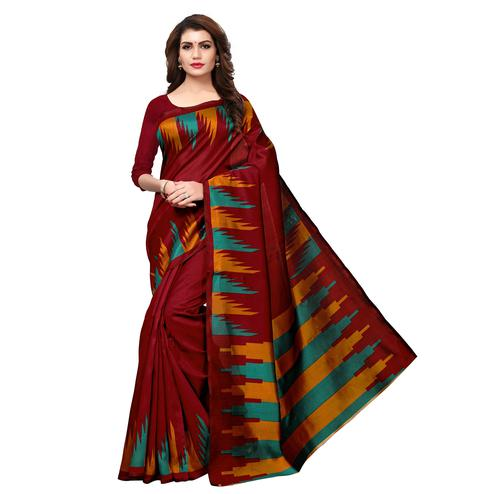 Graceful Maroon Colored Casual Printed Art Silk Saree