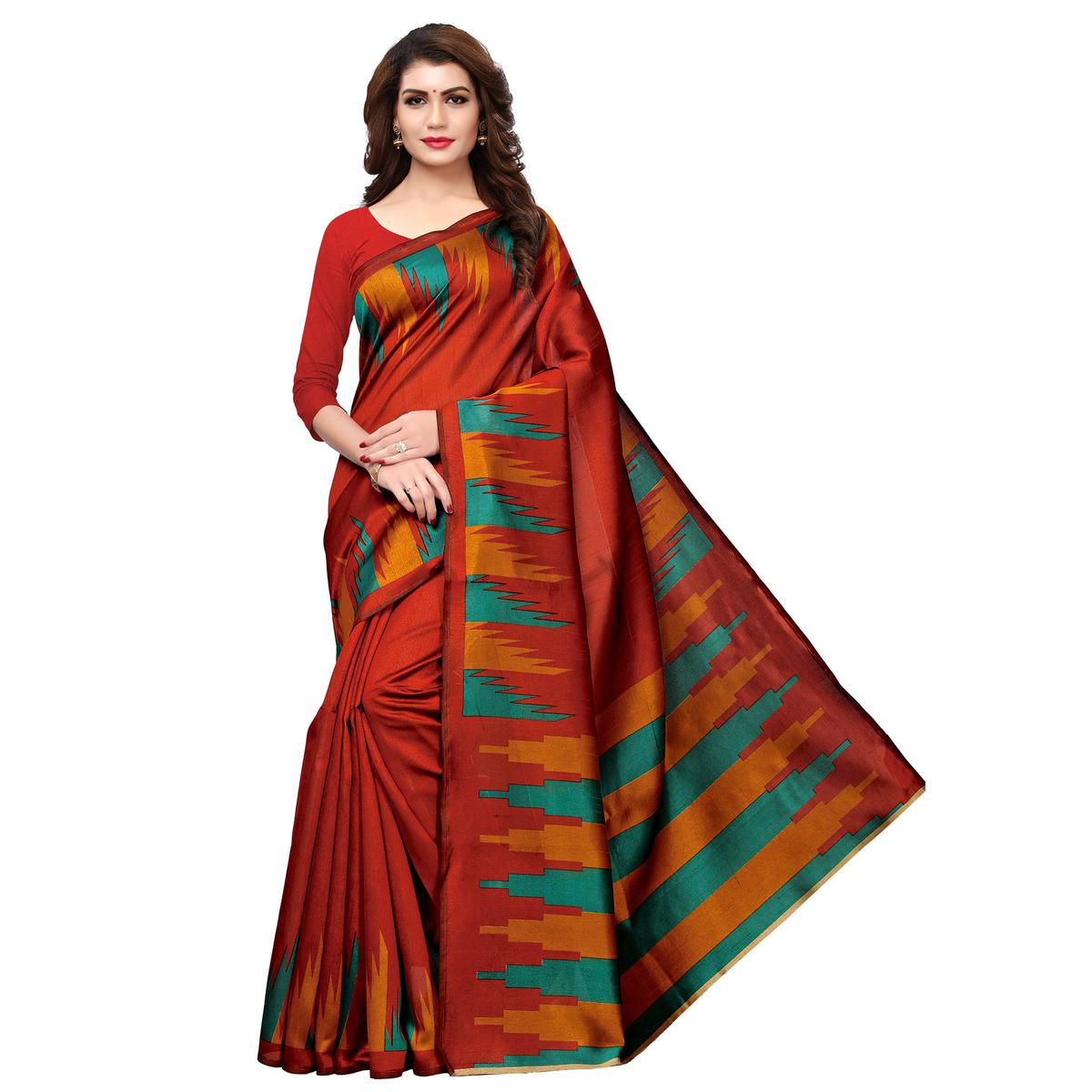 Lovely Dark Orange Colored Casual Printed Art Silk Saree