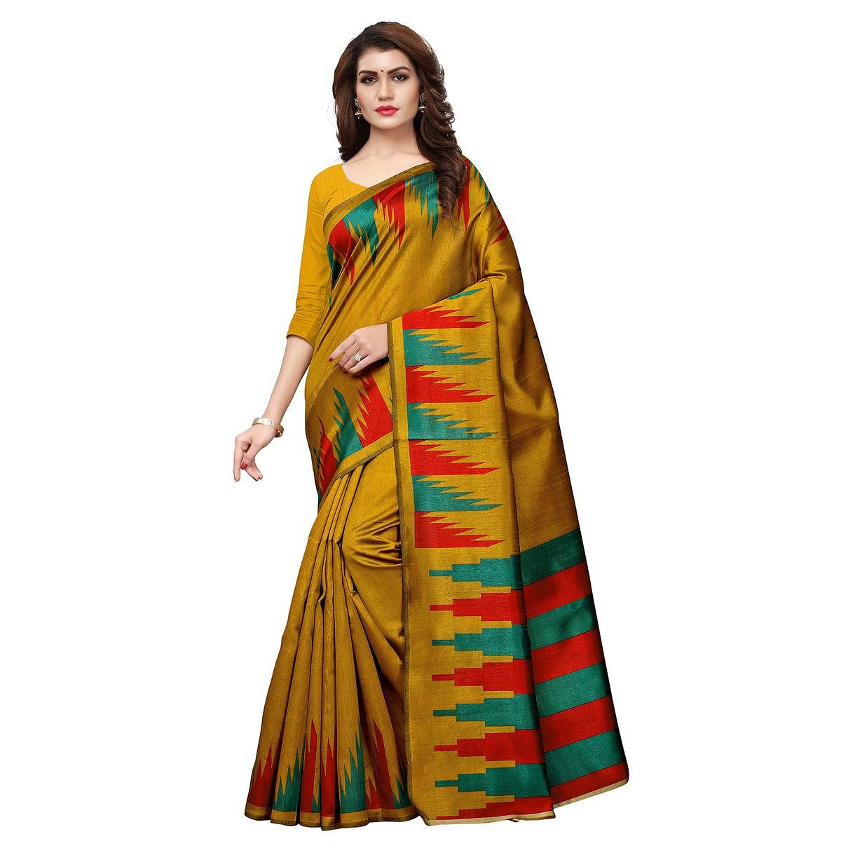 Pretty Mustard Yellow Colored Casual Printed Art Silk Saree