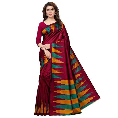 Charming Maroon Colored Casual Printed Art Silk Saree