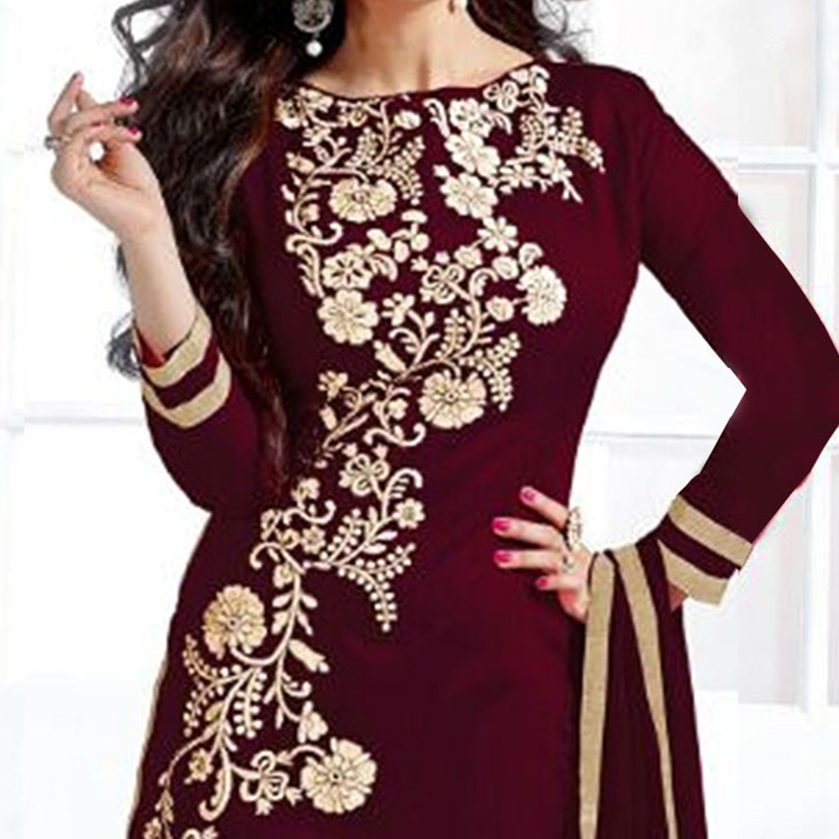 Stylish Maroon Embroidered Semi Stitched Salwar Suit