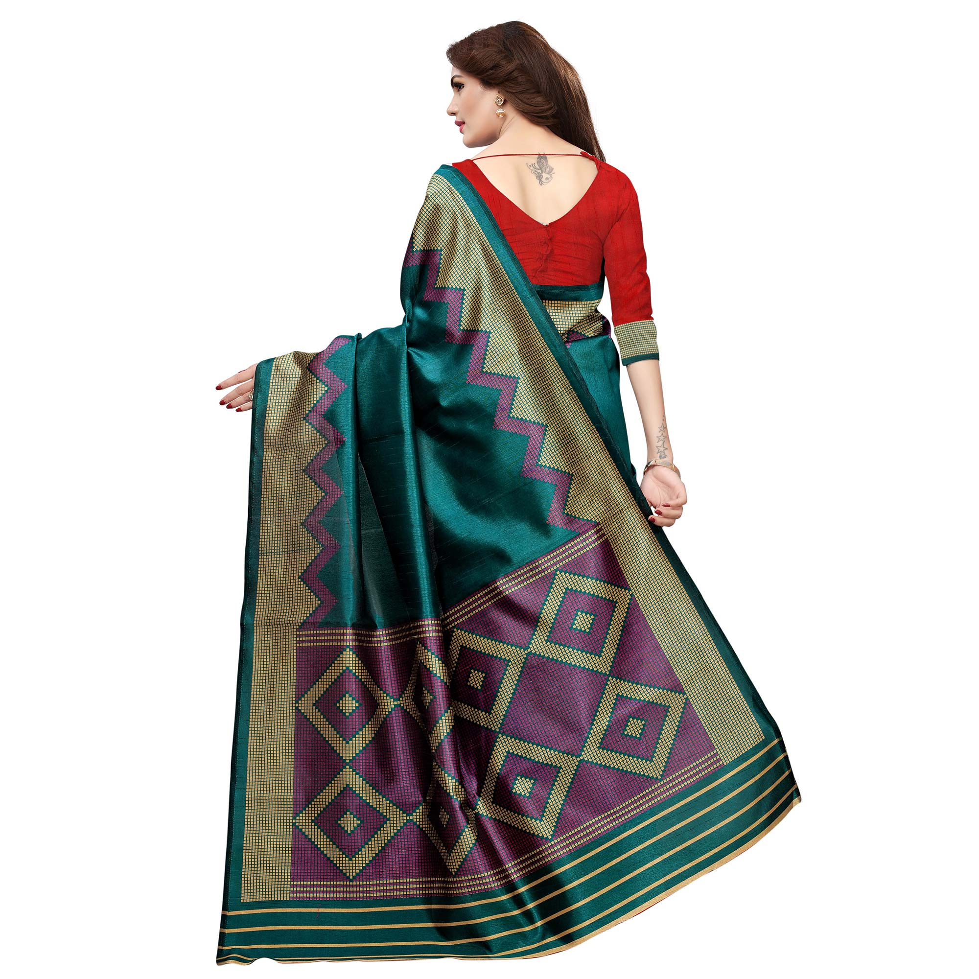 Attractive Teal Blue Colored Casual Printed Art Silk Saree