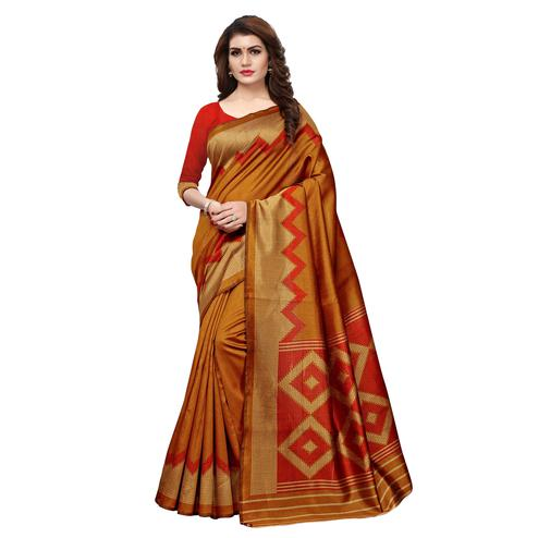 Beautiful Dark Mustard Colored Casual Printed Art Silk Saree