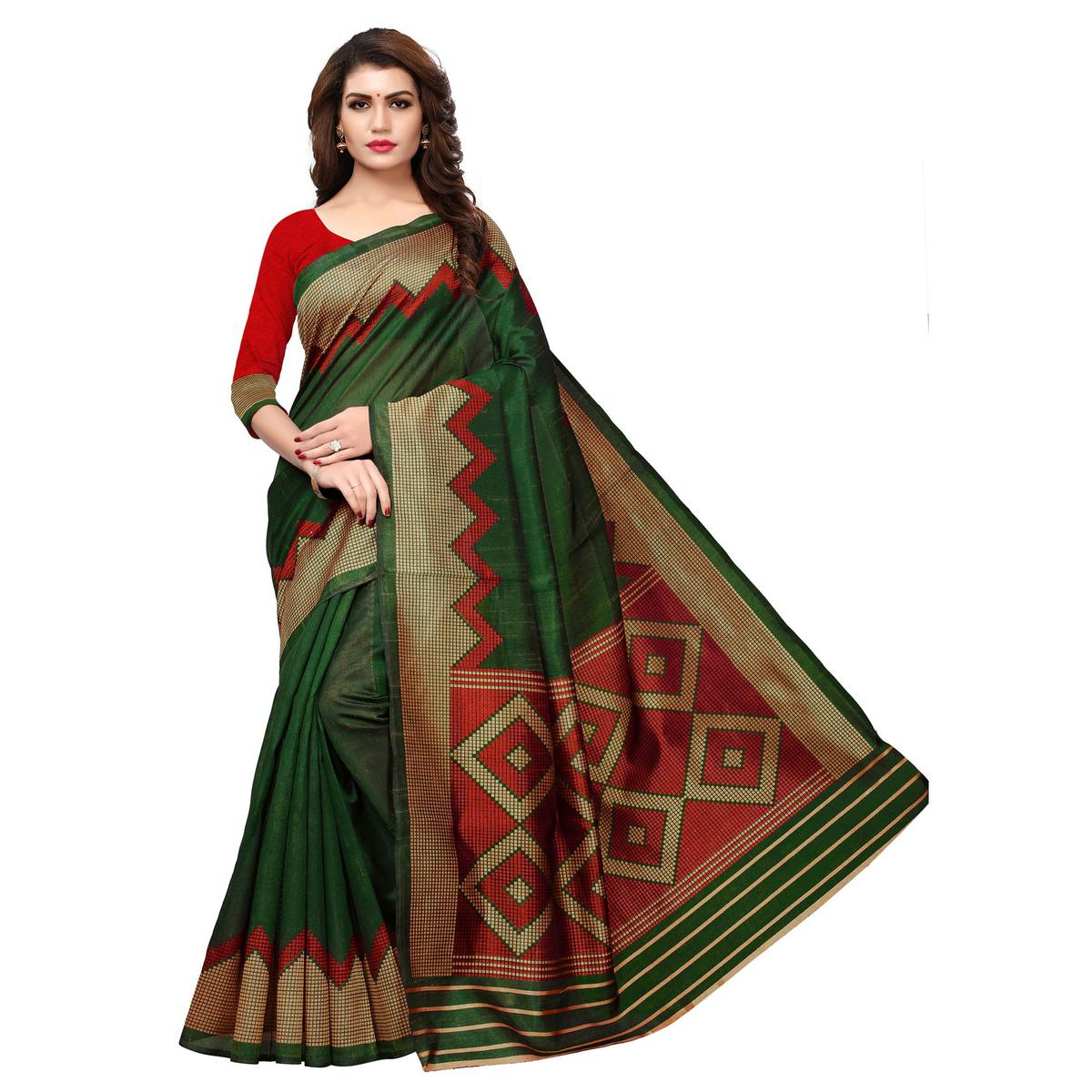 Intricate Green Colored Casual Printed Art Silk Saree