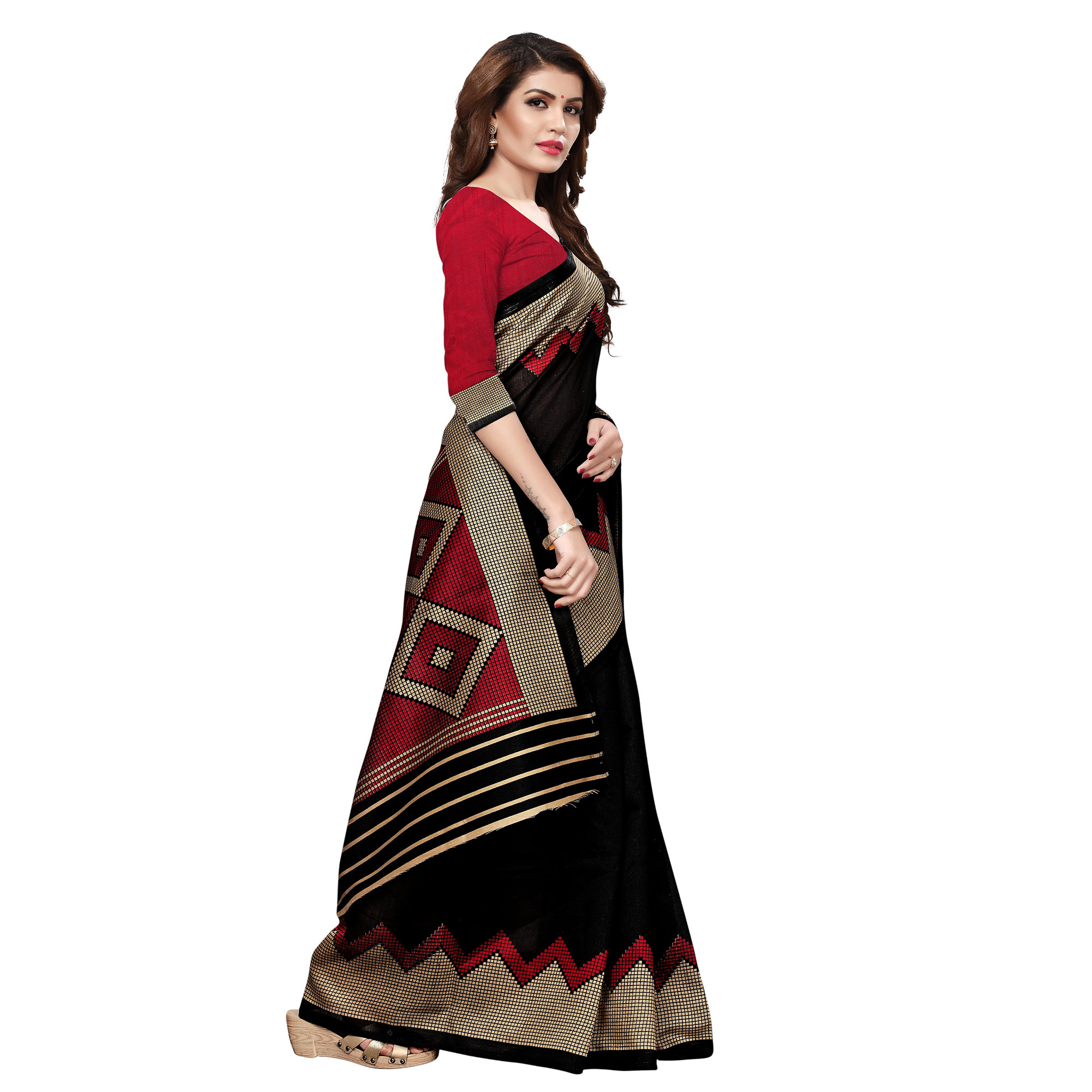 Desirable Black Colored Casual Printed Art Silk Saree